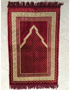 Prayer Rug, Red, inches, Made in Turkey Muslim Prayer Rug, Islamic Prayer, Islamic Art, Carpet Mat, Rugs On Carpet, Large Tapestries, Rug Making, Silver Glitter, Bohemian Rug