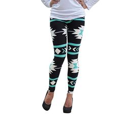Coper Women Skinny Geometric Print Slim Stretchy Leggings Pants