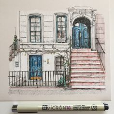 Sketching. #art #drawing #pen #sketch #illustration #linedrawing #architecture #building #newyork #townhouse #nyc