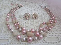 Vintage Pink Pearls and Frosted Glass Beads/Vintage Demi Parure/Vintage Necklace and Earrings/Vintage Parure - FREE SHIPPING U.S.A.!!! by OwlMansionJewels on Etsy