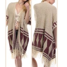 HP Cozy Tribal Knit Sweater Love, Love, Love this sweater! • Cozy Free Spirited Aztec Tribal Cardigan Sweater • one size fits all • coziest material ever • Cream / Burgandy • Fuzzy and Warm • 60% cotton 40% acrylic • Fringe Hemline • I am keeping one for myself and haven't taken it off!  Only 4 left ✨please do not purchase this listing✨ comment and I will make a listing for you Tea n Cup Sweaters Cardigans