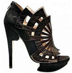This Nicholas Kirkwood python web suede shoe Suede Sandals, Suede Shoes, Shoe Boots, Shoes Heels, Heeled Sandals, Black Sandals, High Heels, Prom Shoes, Black Shoes