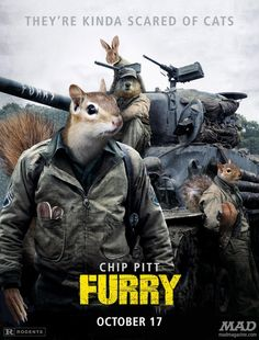 Idiotical Originals, Any Less Dumb?, Movie Posters, Fury, Furry, Brad Pitt, Chipmunk, Squirrel, Groundhog, Rabbit, Central American Revolutionaries who Love Peeps