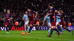 Lionel Messi, centre, passed to Luis Suarez instead of shooting his penalty, while Neymar, right, looked on.