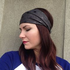 Charcoal Gray with Black Foil Dots Fabric Wrap Head Wrap Headband OR Rurban on Etsy, $10.99