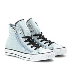 Converse Chuck Taylor Double Zip Denim High-Tops (120 CAD) ❤ liked on Polyvore featuring shoes, sneakers, converse, footwear, 18. converse., converse trainers, converse sneakers, converse footwear, light blue sneakers and converse high tops