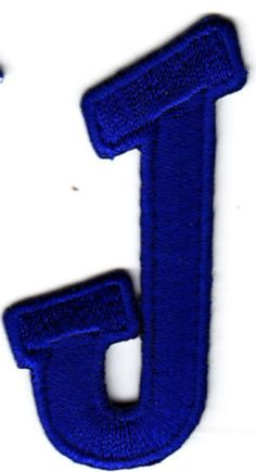 """[Single Count] Custom and Unique (2 1/4"""" to 1 1/4"""" Inches) American Alphabet Monogram Letters Cool Sports Script Bold Letter J Iron On Embroidered Applique Patch {Blue Color}"""