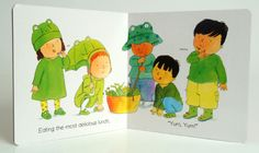 Favourite nursery rhymes and songs, with babies and toddlers, signing and miming along. http://www.childs-play.com/bookshop/9781846431753.html