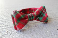 Boy's Bow Tie - Christmas Medium Plaid - Adjustable Velcro Closure.