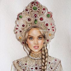 Fashion Illustration Face, Fashion Illustrations, Poster Color Painting, Watercolor Paintings For Beginners, Russian Folk Art, Jewelry Drawing, Cat Wallpaper, Fashion Painting, Russian Fashion