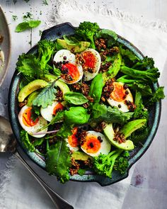 Mar 2020 - There's so much goodness packed into this healthy veggie salad including fibre-rich lentils, tenderstem broccoli, fudgy boiled eggs and crunchy seeds. Spinach Recipes, Healthy Salad Recipes, Egg Recipes, Lunch Recipes, Vegetarian Recipes, Puy Lentil Recipes, Curry Recipes, Dhal Recipe, Tenderstem Broccoli