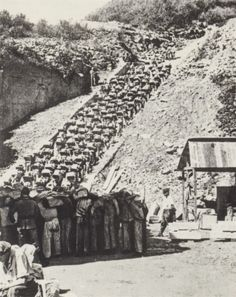 Mauthausen quarry. This is one of the most notorious photos of World War II. Imagine having that rock on your back and then having to wait patiently just for the chance to walk up the stairs and set it down – then walk back down and grab another.