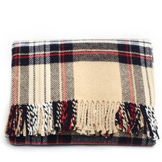 Scott Plaid Throw Beige, $48, now featured on Fab. Fine Outdoor Blankets From Spain