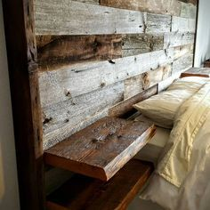 Reclaimed barn board oversized headboard with built in live edge floating…