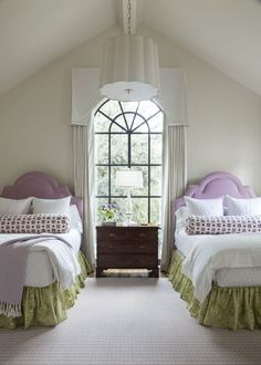 bedrooms & guest suites - Collins Interiors. These colors, with green walls in NW bedroom?