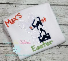 Super sweet 1st Easter Bunny Shirt - available at www.emmylouchildrens.etsy.com