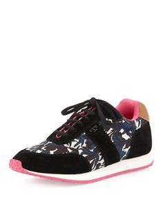 Pettee+Printed+Trainer,+Nouveau+(Black/Tan)+by+Tory+Burch+at+Neiman+Marcus.