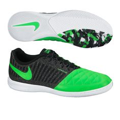 Nike FC247 Lunar Gato II Indoor Soccer Shoes (Black/Green/White)