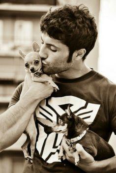 Cute man with dog