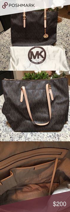 Michael Kors Purse Has minor wear and tear. In great condition. No scars on outside of bag. Inside has minor wear. Bought at Dillard's and still have original tags. Has zipper on top of bag and a button side pocket as well.                     14.5 x 11.5 x 9.25 MICHAEL Michael Kors Bags Shoulder Bags
