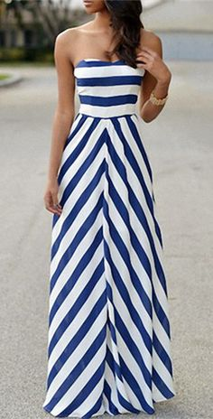 Refreshing Strapless High Waist Striped Maxi Dress For Women
