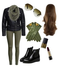 """""""Green fall outfit"""" by szabo-dominika on Polyvore featuring H&M, Sisters Point, Lancôme, NARS Cosmetics and Hermès"""
