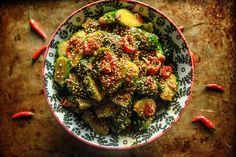 SPICY ASIAN BRUSSELS SPROUTS || garlic, ginger, 1 red chili, 2 tbsp rice vinegar, 3 tbsp hoisin, 2 tsp sesame oil, salt, 1 chili, 1 tbsp sesame seed