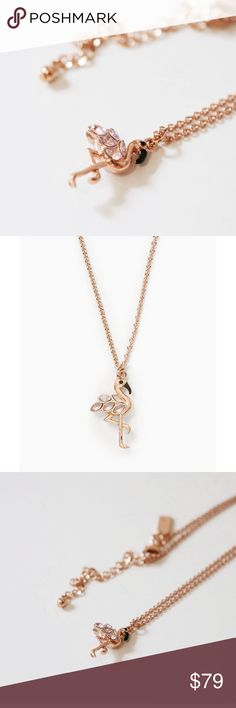 """🍉SUMMER SALE🍉Kate Spade flamingo necklace Brand new Kate Spade flamingo necklace //  Twinkling crystals glam up a tropical flamingo pendant strung on this playful, resort-ready necklace //  12K rose gold plated with enamel and crystal elements // about 20"""" with 3"""" extender // sold out everywhere, super cute kate spade Jewelry Necklaces"""
