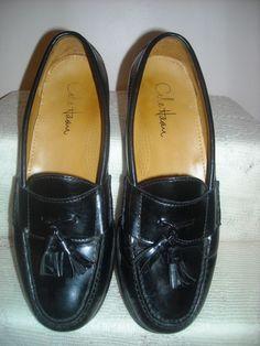 Men's COLE HAAN Black Leather Tassel Loafer Dress Casual Shoe Dust Bag Sz 9.5D   #ColeHaan #LoafersSlipOns