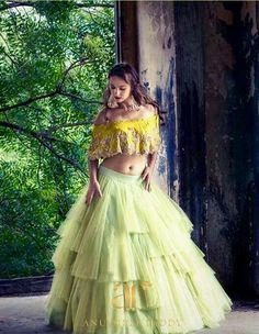 How pretty is this dramatic tulle lemon green lehenga by Anushree Reddy Lehnga Dress, Bridal Lehenga Choli, Indian Lehenga, Net Lehenga, Lehenga Top, Kids Lehenga, Dress Skirt, Indian Wedding Outfits, Bridal Outfits