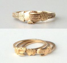 FEDE GIMMEL rings have been used for centuries to symbolize the union of two people: in friendship, in marriage. They've been the wedding ring of royalty, and gifts between friends.  I love the timelessness of this symbol - this one, to me, speaks of a secret love.  This is a rare gold triplet Fede Gimmel ring, circa late 1700s - early 1800s...The tiny clasped hands of the ring open, splitting the band in three, and exposing two hidden hearts.