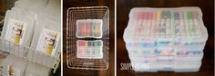 Organize kids craft supplies with 4X6 photo containers. Perfect size for crayons, markers, etc.