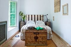 Marrakech riad bedroom with Moroccan wedding blanket on the bed