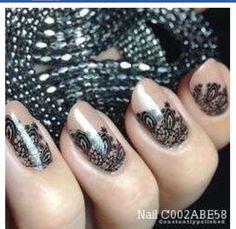Nail Art, Nail Designs, Unique Nails, Nail It Daily Lace Nail Design, Nail Design Spring, Lace Nail Art, White Lace Nails, Manicure Nail Designs, Nail Manicure, Nail Art Designs, Nail Polish, Pretty Nail Art