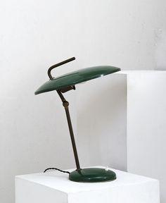 Nicolai Diulgheroff; Brass and Enameled Metal Table Lamp, c1938.