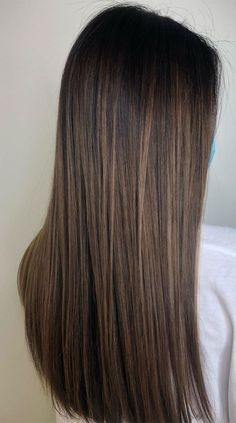Brunette Hair With Highlights, Brown Hair Balayage, Hair Color Balayage, Balayage Hair Brunette Straight, Gorgeous Hair Color, Hair Color For Black Hair, Long Brunette Hairstyles, Straight Hairstyles, Brown Hair Inspo