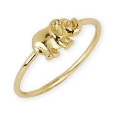 Argento Vivo Elephant Ring ($58) ❤ liked on Polyvore featuring jewelry, rings, gold, handcrafted jewelry, 18k ring, elephant charm, 18 karat gold jewelry and 18k jewelry