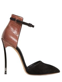 CASADEI  120MM SUEDE & AYERS BLADE ONE PUMPS