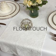 Ivory Magnolia Lace Table Runner Wedding Table by floratouch, $11.00