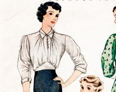 1930s 30s pattern women's blouse bishop or flared sleeves