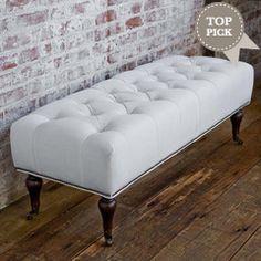 Regina Andrew Furniture White Linen Tufted Bench