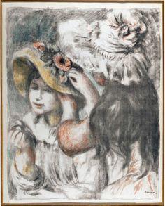 Les Impressionnistes en privé au Musée Marmottan. Pierre-Auguste Renoir, Le chapeau épinglé, première planche, 1897, Lithographie en couleurs imprimée en bistre sur papier vergé, Impression: 60 x 49, 2 cm ; feuille: 79, 5 x 57, 2 cm. Collection particulière