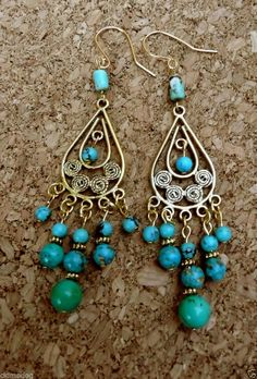 Genuine Mosaic & Natural Turquoise Antique Gold Gypsy Boho Dangle Earrings