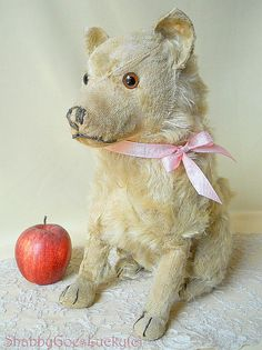 Steiff dog Chow Chow pre-war 1928 – 1931 produced only, large old 14 inch sitting mohair dog, IDs lost, shabby antique stuffed Steiff animal