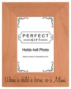 Mothers Day Gift Child is Born So is Mimi Natural Wood Engraved 4x6 Portrait Picture Frame Wood ** Check out the image by visiting the link.