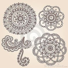 Henna Tattoo Flower Mandala Doodle Vector Designs by Blue67, via Dreamstime