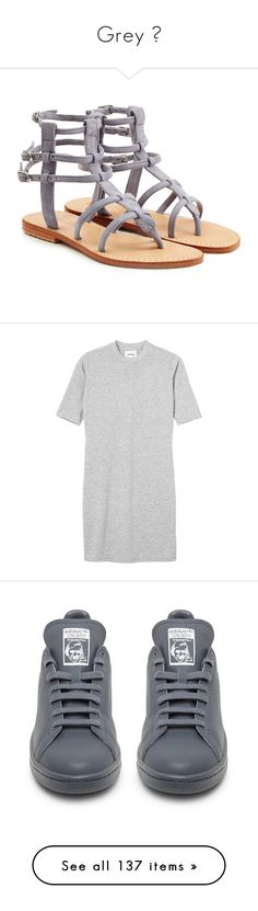 """""""Grey 💀"""" by b-oooty ❤ liked on Polyvore featuring shoes, sandals, flats, grey, low heel sandals, flat shoes, grey suede shoes, strappy flats, gray sandals and dresses"""