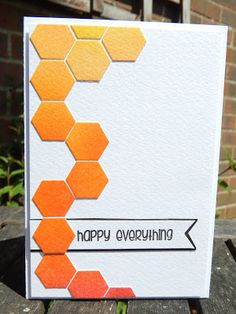 hand crafted card from Craft-E-Place ... hexagons die cut from watercolor paper colored in ombre of oranges ... clean and simple  graphic look ... great card!