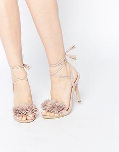 Daisy Street - Ghillie - Sandales à talons et lacets avec pompon - Blush