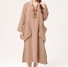 Big yards long-sleeve dress temperament of pure color linen skirt loose Cotton and linen robe.  474